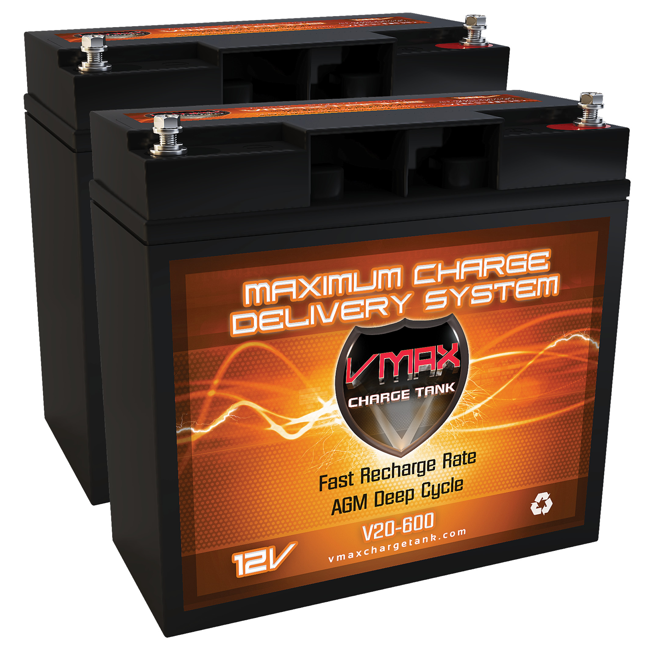 QTY 2 V20-600 AGM Group 1/2 U1 Deep Cycle Battery Replace...