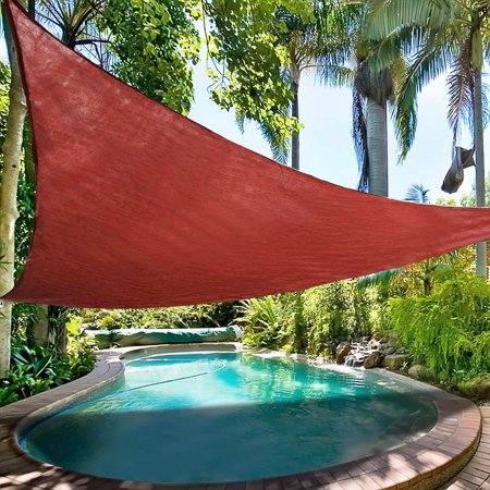 Image of Ollieroo 16.5x16.5x16.5ft Shade Sail UV Block Fabric Patio Outdoor Canopy Sun Shelter with 5ft PE Ropes and Steel D-rings Triangle Sand