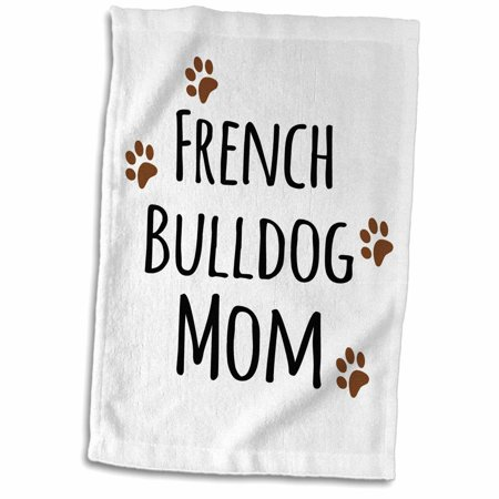 3dRose French Bulldog Dog Mom - Doggie by breed - brown muddy paw prints - doggy lover proud mama pet owner - Towel, 15 by 22-inch