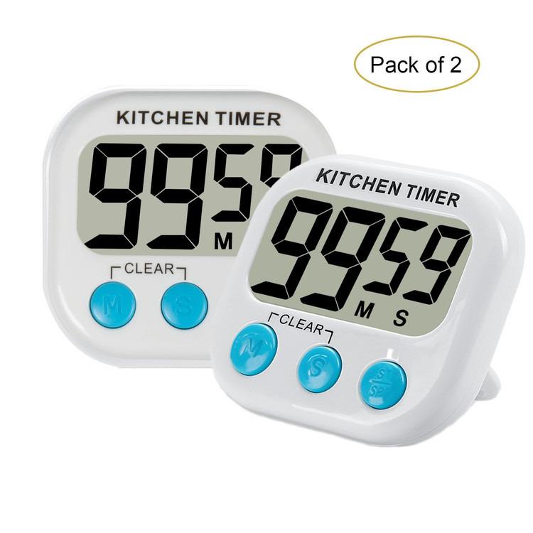 2pcs Digital Kitchen Timer with Premium Magnetic Backing for Cooking, Baking and More (LCD Display, Loud... by