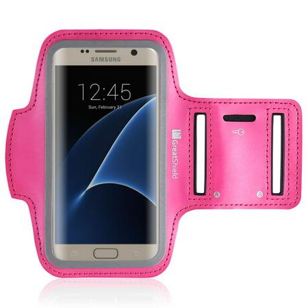 GreatShield Stretchable Neoprene Sport Armband Case with Key Storage for Galaxy S8/S7, Google Pixel/Pixel 2, LG V30, Moto G5, Nokia 3 (Pink)