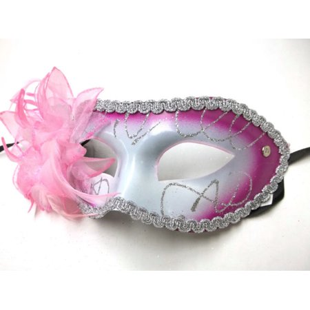 Pink White Lily Flower Mardi Gras Masquerade Party Value Mask