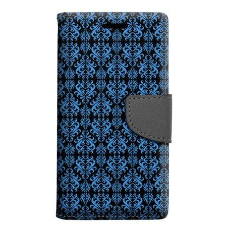 Alcatel Pop 4 Wallet Case - Victorian Damask Blue on Black Case