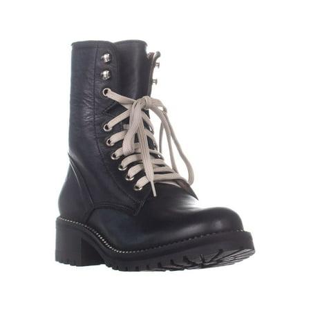 Aqua Leather - Womens Aqua Jax Lace Up Combat Boots, Black Leather, 8.5 US