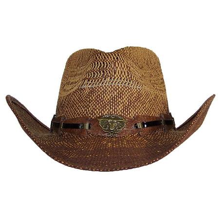 Stone Age Adult Straw Cowboy Hat W/Band W/Longhorn Buckle - Hot Adult