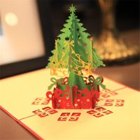 3D Up Card Christmas Tree Greeting Baby Gift Holiday Happy New Hot Cards