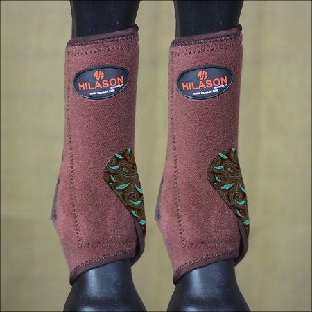 LARGE HILASON BROWN HORSE FRONT LEG ULTIMATE SPORTS BOOTS TURQUOISE PAISLEY
