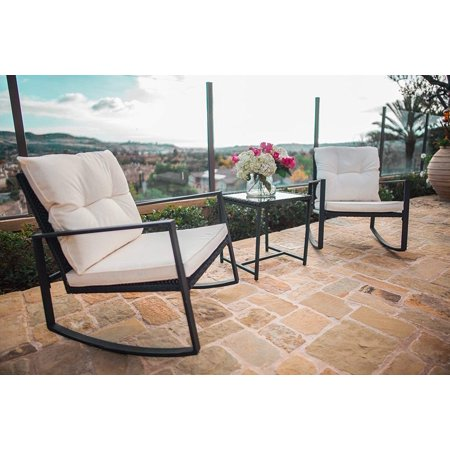 White Outdoor Patio Furniture.Suncrown Outdoor 3 Piece Rocking Wicker Bistro Set Black Wicker Furniture Two Chairs With Glass Coffee Table Beige White Cushion