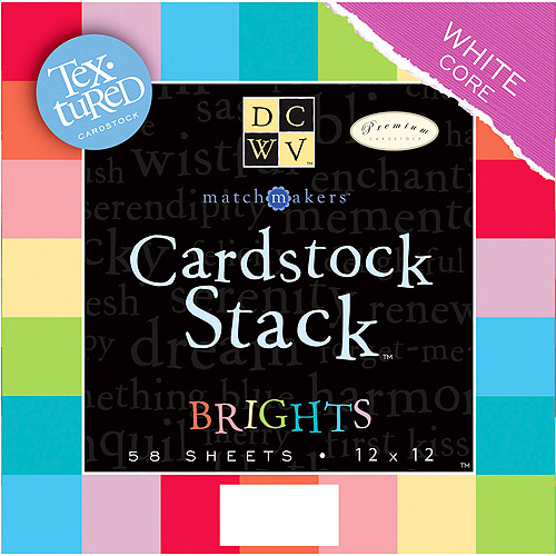 "Diecuts With A View Match Makers Textured Brights 12"" x 12"" Cardstock Stack, 2 Each Of 29 Colors (58 Sheets/Pad)"