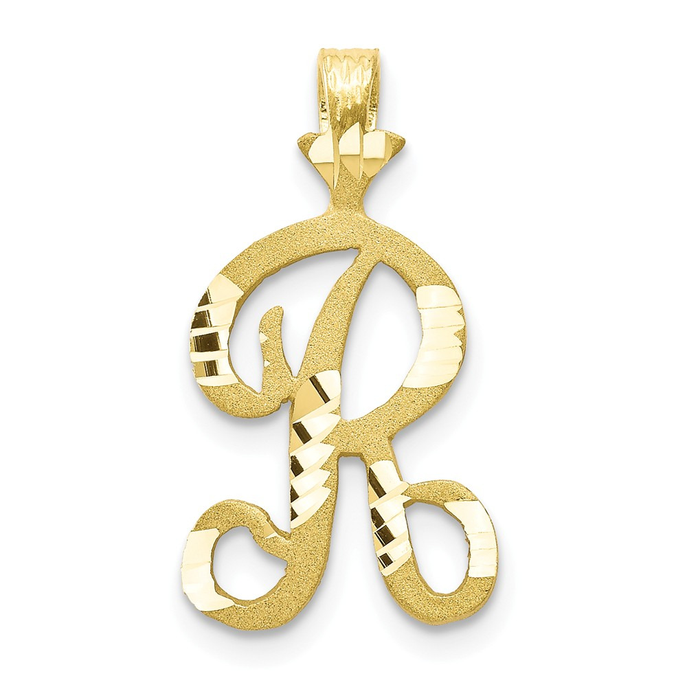 10k Yellow Gold Initial R Pendant