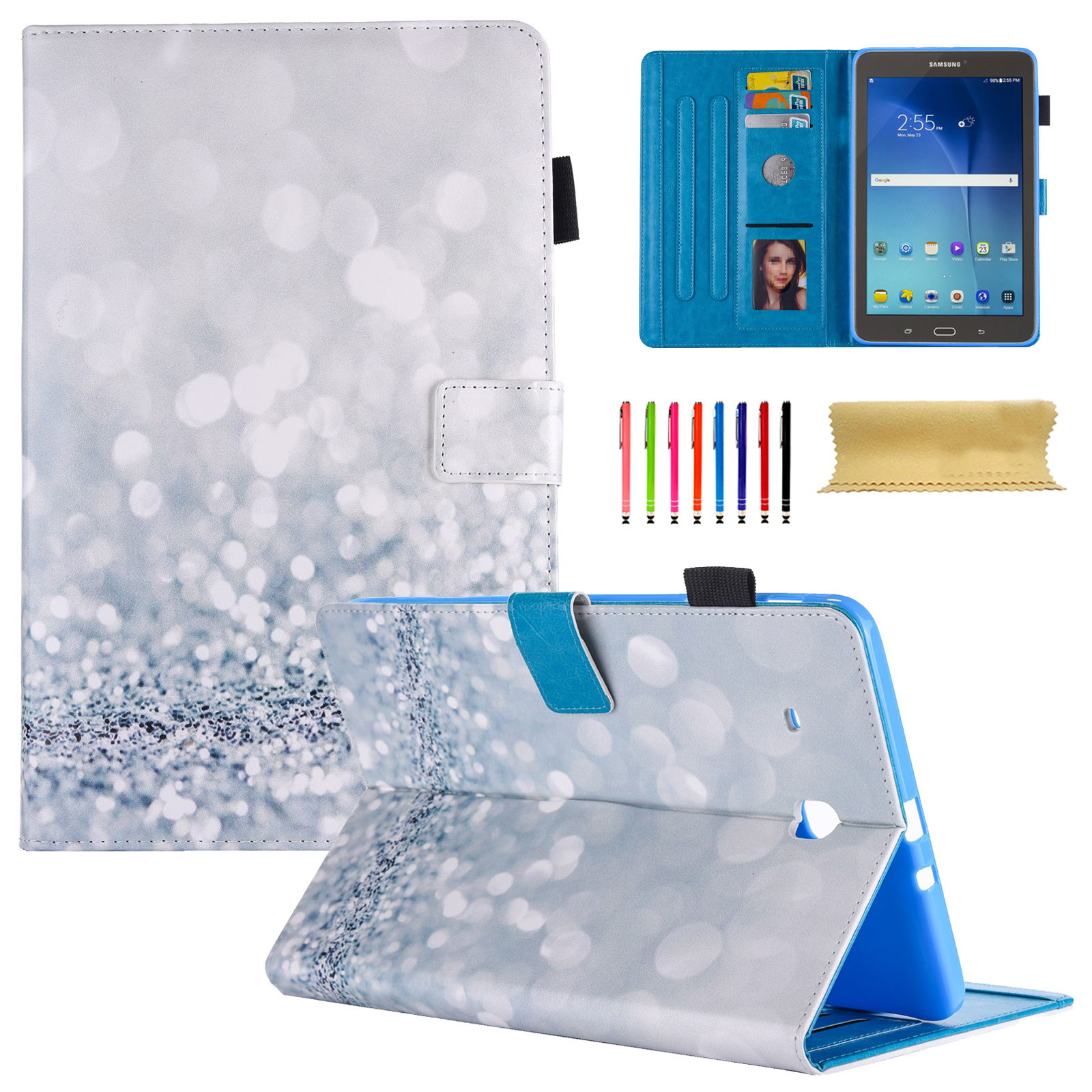 Galaxy Tab E 8.0 Case, Goodest Slim PU Leather Wallet Folio Stand Cases and Covers with Auto Wake/ Sleep Samsung Galaxy Tab E 32GB SM-T378/Tab E 8.0-Inch SM-T375/SM-T377 Tablet, Silver Sand