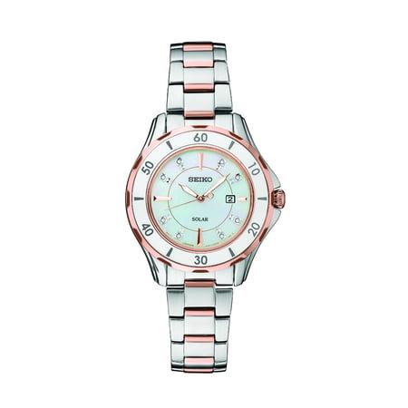 Seiko Women's DIAMOND SOLAR' Quartz Stainless Steel Casual Watch Two Tone SUT340 Steel Diamond Casual Watch