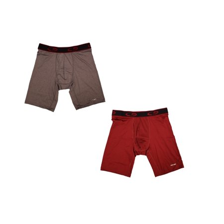 C9 By Champion Champion Premium Power Cool Technology Long Boxer Briefs, Red and Gray, 2 Pack, Size X-Large