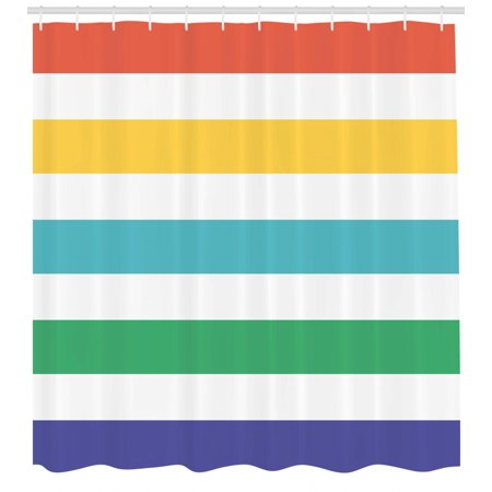 Striped Shower Curtain Rainbow Colored And White Fun Horizontal Lines Kids Room Red Yellow Blue