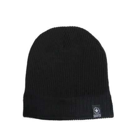 Men's Fleece Lined Warm Winter Knit Beanie Hat Cap, Black Fleece Cuff Cap