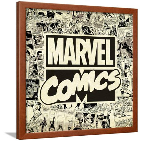 Marvel Comics Retro Pattern Design Featuring Marvel Comics (Retro) Framed Print Wall Art