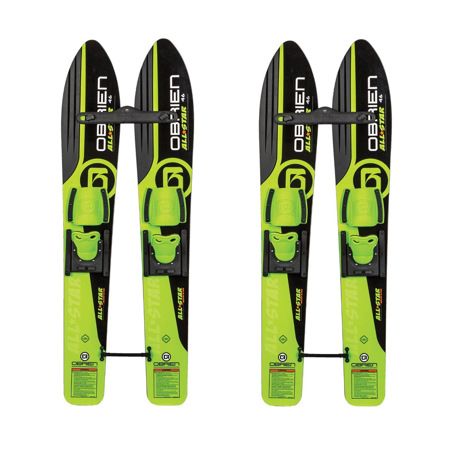 OBrien 46 Inch Children All Star Trainer Kids Combo Waterskis w/ Rope (2 Pack)
