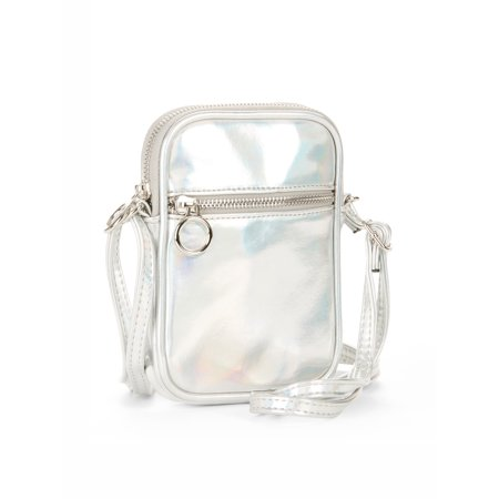 No Boundaries Silver Metallic Cell Phone Crossbody