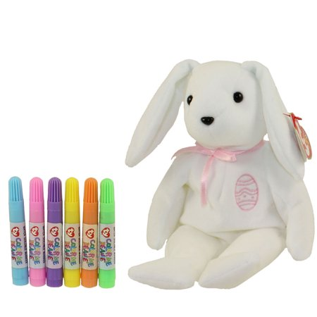 TY Beanie Baby - COLOR ME BUNNY w/ markers (Pink Ribbon & Egg) (7.5 inch)