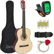 Best Choice Products 38in Beginner Acoustic Guitar Starter Kit w/ Case, Strap, Digital Tuner, Pick, Strings  - Natural