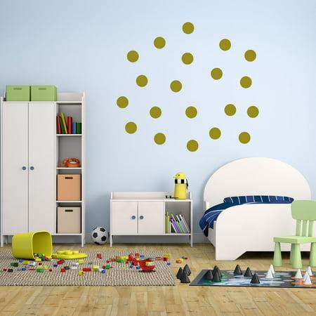 VWAQ 20 Polka Dot Wall Decals 3 Inch Peel & Stick Circles Dots Colors Kids Room VWAQ-555 (Gold)