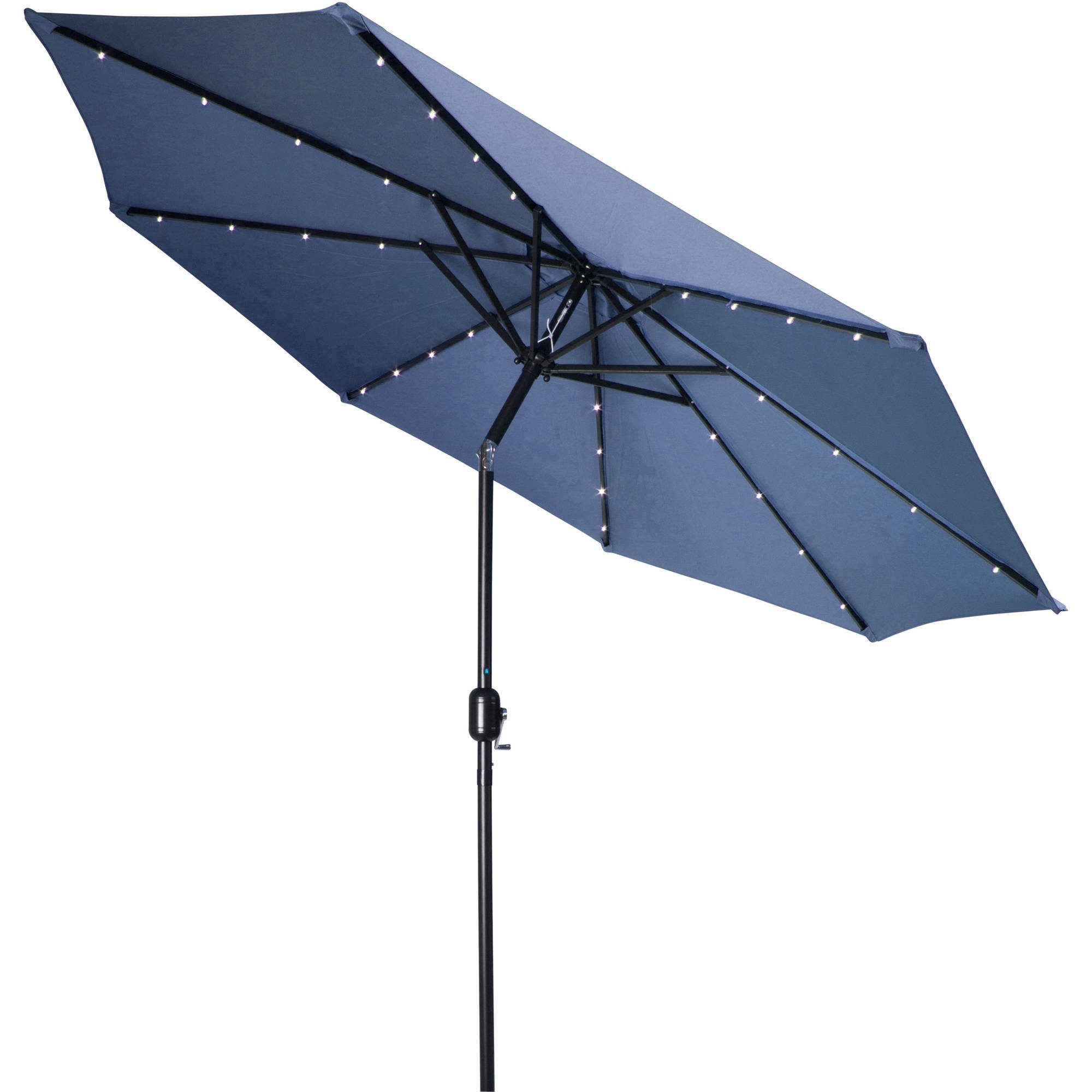 Deluxe Solar Powered LED Lighted Patio Umbrella   9u0027   By Trademark  Innovations (Blue