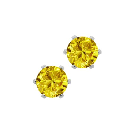 - 6mm Canary Yellow Round Cubic Zirconia CZ Post with friction back Stud Earrings