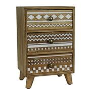 Urban Designs Farmhouse Handcrafted 3-Drawer Wood Jewelry Box