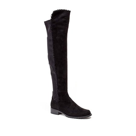 French Blu Black Suede Park Ave Over Knee Fitted Stretch Back Flat Boot Fur Trim (41) (39) ()