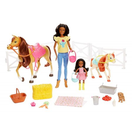 Barbie Hugs 'N' Horses Playset with Barbie & Chelsea Dolls, Brunette