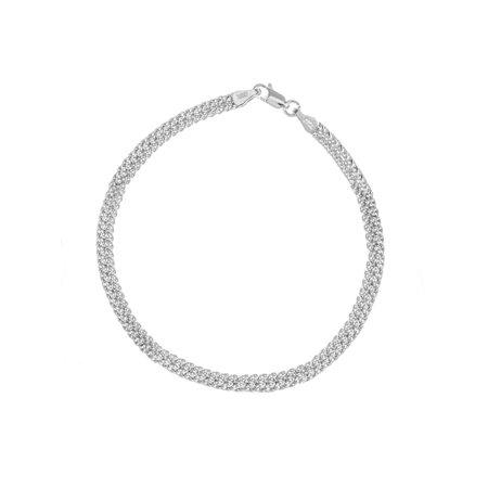 14k White Gold Diamond-cut Bismark Chain Bracelet