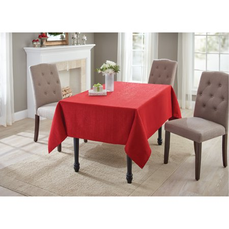 Better Homes And Gardens Holiday Red Metallic Tablecloth