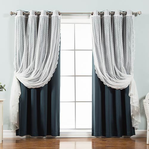 Navy Lace and Solid 96 x 52 In. Blackout Window Treatments, Set of Four by