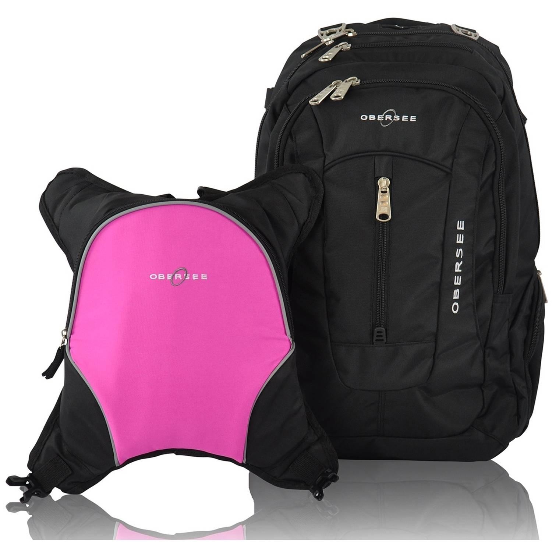 Obersee Bern Diaper Bag Backpack and Cooler, Black/Pink