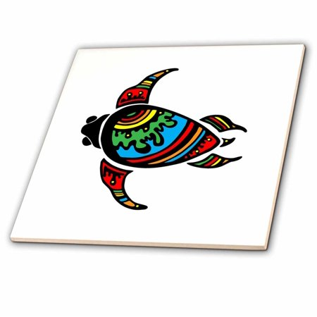 - 3dRose Image of Polynesian Tribal Turtle Symbol - Ceramic Tile, 8-inch