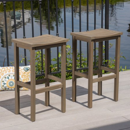 Cortez Outdoor 30 Inch Finish Acacia Wood Barstools, Grey 30 Inch Outdoor Freestanding Bar