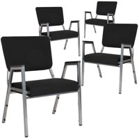 Flash Furniture 4 Pack HERCULES Series 1500 lb. Rated Black Antimicrobial Fabric Bariatric Medical Reception Arm Chair with Panel Back