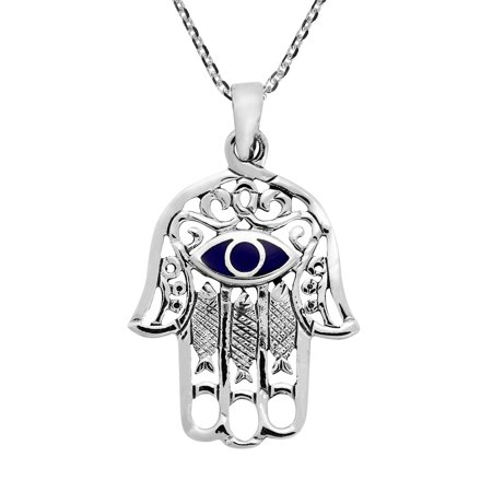 - Hamsa Hand & Evil Eye Simulated Blue Lapis-Lazuli Inlaid .925 Sterling Silver Pendant Necklace