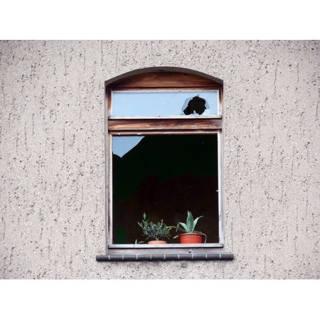 Canvas Print Glass Disc Window Facade Decay Broken Building Stretched Canvas 10 x