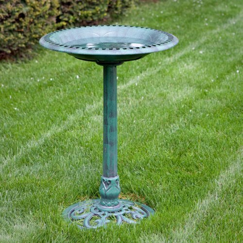 Alpine Resin Classic Scroll Base Bird Bath