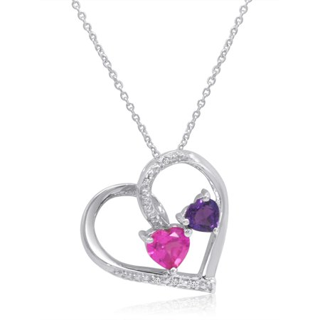 Amanda Rose Created Pink Sapphire, Natural Amethyst and Diamond Heart Pendant in Sterling Silver Diamond Sapphire Heart Necklace