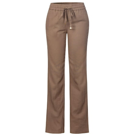 Made by Olivia Women's Comfy Drawstring Elastic Waist Linen Pants with Pocket Mocha S