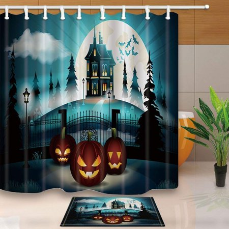 ARTJIA Halloween Pumpkin with Castle in Pine Forest Decor Shower Curtain 66x72 inches with Floor Doormat Bath Rugs 15.7x23.6 inches