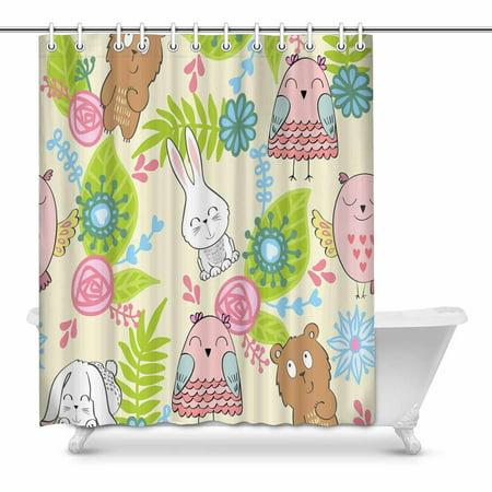 MKHERT Cute Owl Bears Rabbits Bathroom Shower Curtain 60x72 Inch