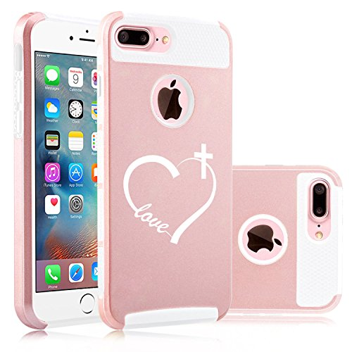 For Apple (iPhone 8 Plus) Shockproof Impact Hard Soft Case Cover Love Heart Cross Christian (Rose Gold-White)