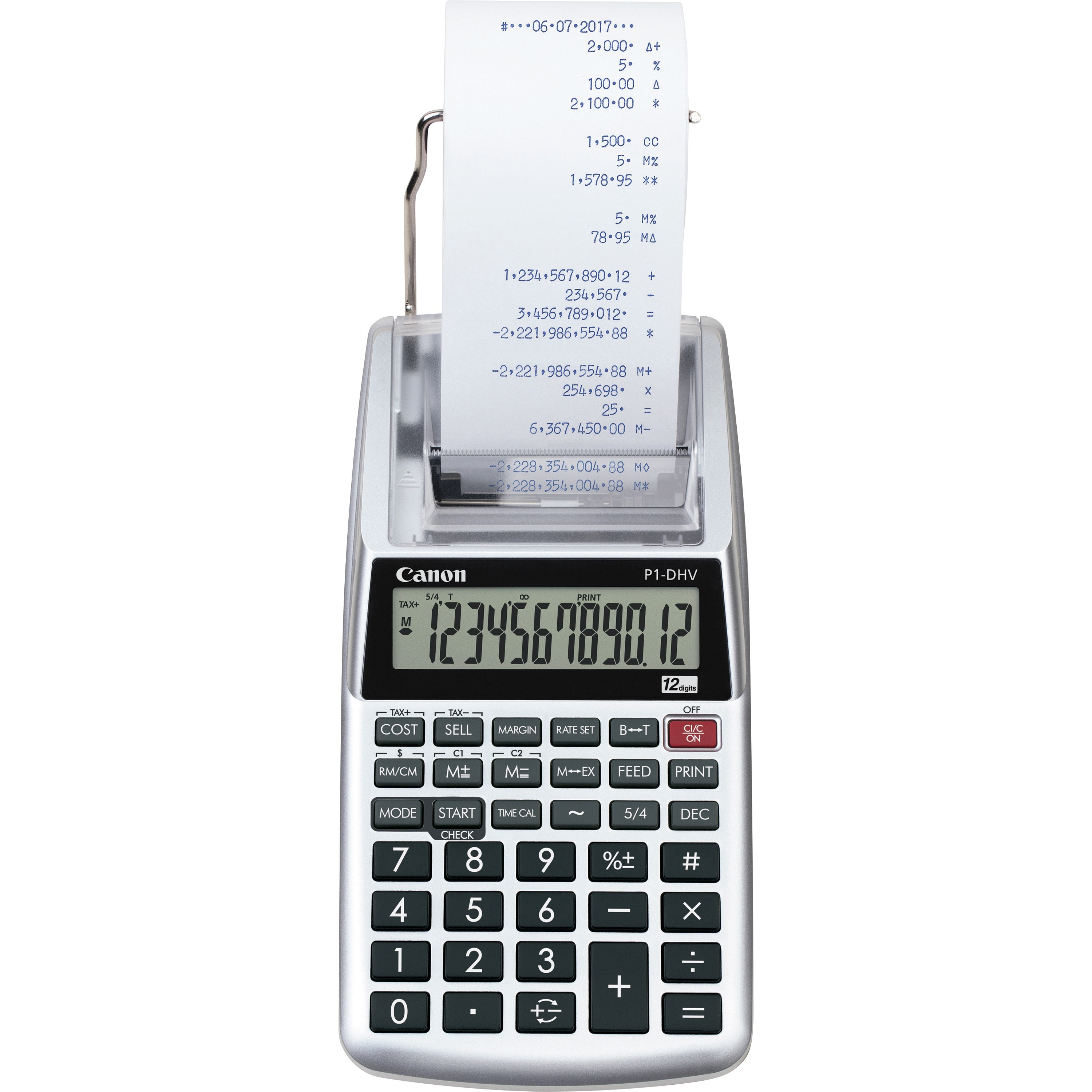 Canon P1DHV3 Compact Printing Calculator, Sliver, 1 Each (Quantity)