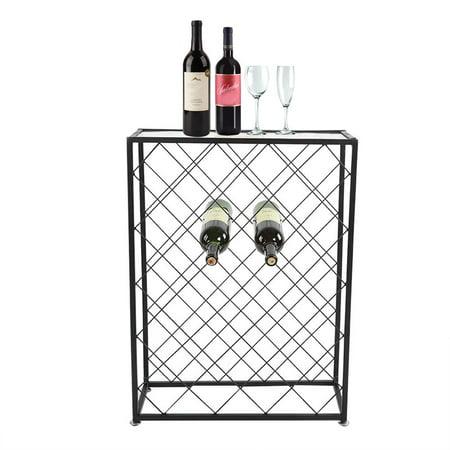 WALFRONT 32 Bottles Wine Storage Rack Floor Bottle Holder Glass Table Top Black Display Liquor Cabinet ,Wine Storage Rack, Bottle Floor Stand](Liquor Store Tulsa)