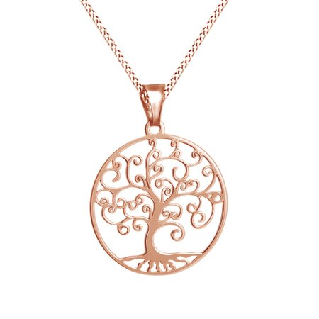 Sterling Silver Wide Ribbon Filigree - Tree of Life Filigree Pendant Necklace 14k Rose Gold Over Sterling Silver