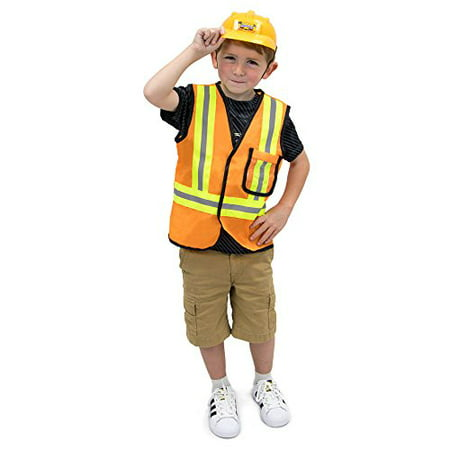 Boo! Inc. Construction Worker Children's Halloween Dress Up Roleplay Costume (To Dress Up For Halloween)