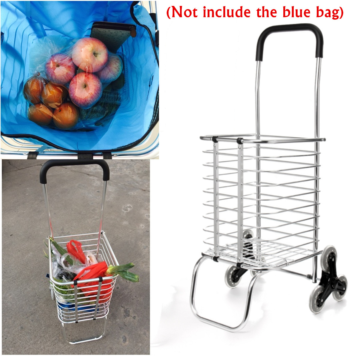 HLL Trolleys,Folding Shopping Trolley with 6 Wheels Grocery Stair Climbing Cart Waterproof//Detachable Market Storage Bag in Pink Max Load 40Kg